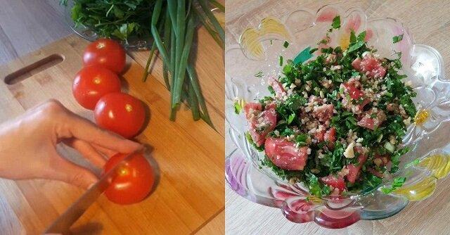 Sałatka gruzińska. Pyszna sałatka pomidorową z orzechowym dressingiem