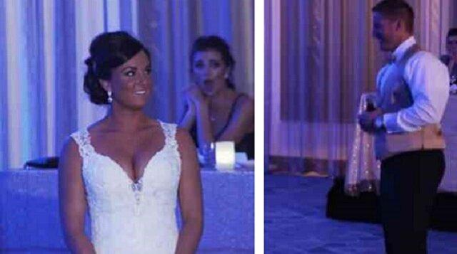 W pewnym momencie, w trakcie wesela, pan Młody poprosił żonę żeby wyszła na środek sali. Minutę później zaczęła płakać