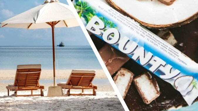 """Mężczyzna znalazł na plaży """"Bounty"""", które przez 30 lat leżało na piasku. Zaskoczył go projekt opakowania z przeszłości i jego zawartość"""