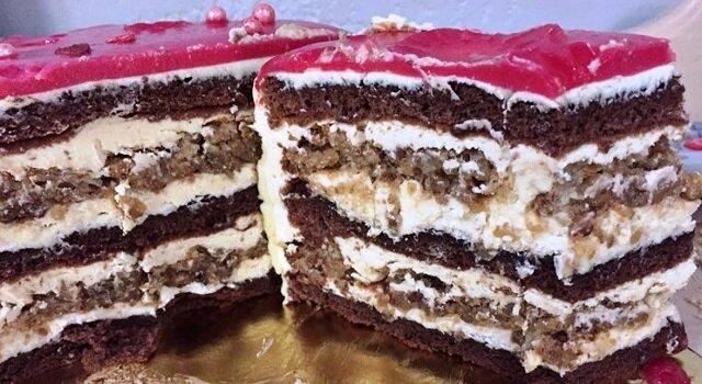 Ciasto orzechowe z czekoladą. Niezwykle smaczny deser
