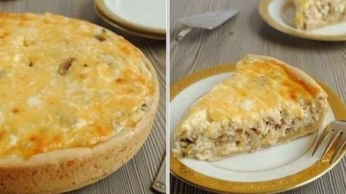 Pyszne i aromatyczne ciasto śmietanowe z grzybami i kurczakiem. Wspaniały smak