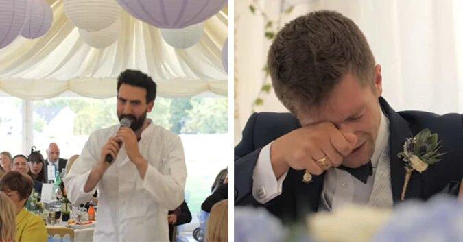 """Zapowiadał się zwykły ślub gdy nagle """"szef"""" zaczyna śpiewać. Ta piosenka doprowadziła parę młodą do łez"""