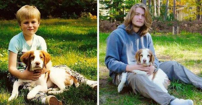 Wzruszające zdjęcia pokazujące, jak dzieci dorastały razem z psami