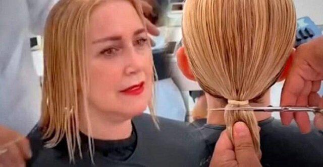 Kobieta zwróciła się do fryzjera, aby zrobić modne cięcie dla cienkich włosów