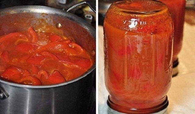 Papryka słodka w zalewie pomidorowej. Słóik zjada się na raz