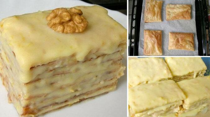 Ciasto z ciasta francuskiego ze skondensowanym mlekiem. Bardzo łatwe w przygotowaniu i niezwykle pyszne