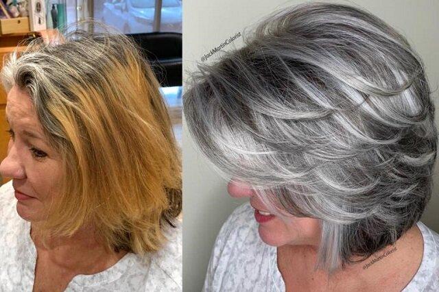 Fryzjer kolorysta Jack Martin udowodnił, że siwe włosy mogą być piękne