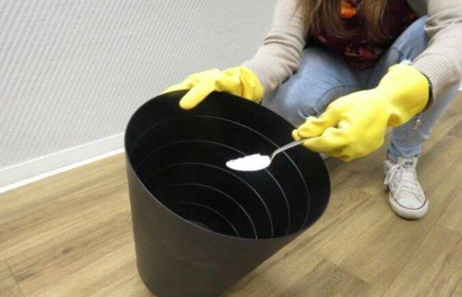 Wyjaśnienie dlaczego doświadczeni gospodarze wsypują sodę na dno kosza do śmieci