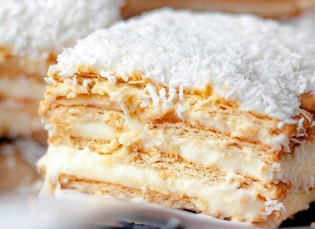 Ciasto Raffaello. Kokosowe ciasto na herbatnikach, bez pieczenia