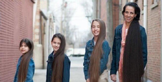 Oto jak wygląda mama i jej córki, które nigdy nie strzygły włosów