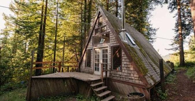 Ten mały dom jest podobny do dachu w środku lasu. Ale nie wyciągaj pochopnych wniosków