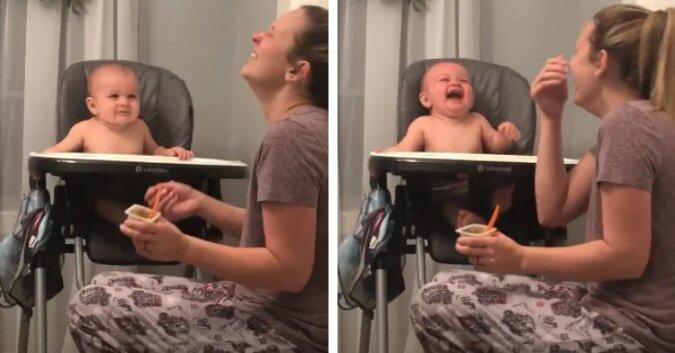 Dziecko nie może przestać się śmiać, gdy mama udaje, że kicha. Zobacz ten uroczy filmik