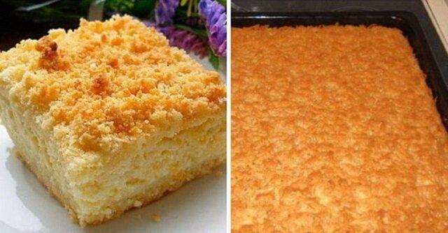 Ciasto ucierane z warstwą białego sera. Bardzo smaczny wypiek