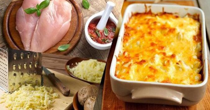 Filet z kurczaka pieczony z tartymi ziemniakami. Palce lizać