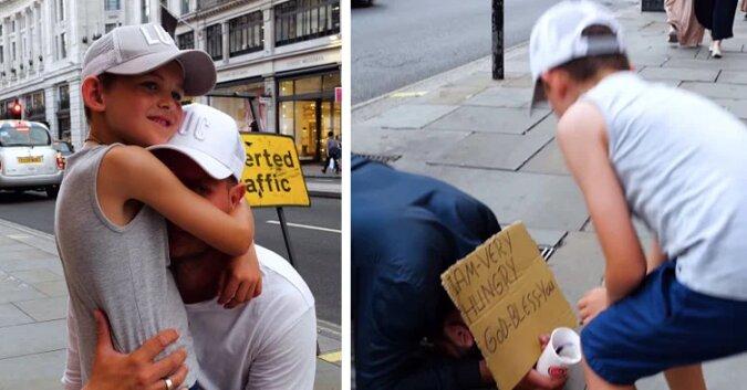 6-latek wzrusza tatę, gdy rezygnuje z zakupów, by pomóc bezdomnym. Wideo