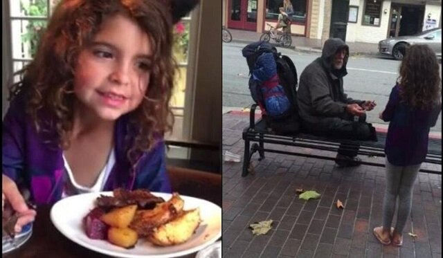 Mała dziewczynka podzieliła się jedzeniem z bezdomnym i ten miły gest zmienił jego życie