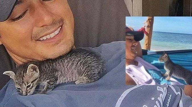 Jedno spotkanie na plaży zmieniło na zawsze dwa życia - człowieka i kotki