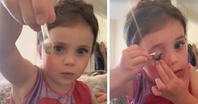 Dziewczynka bierze makeup mamy i tworzy słodki instruktaż