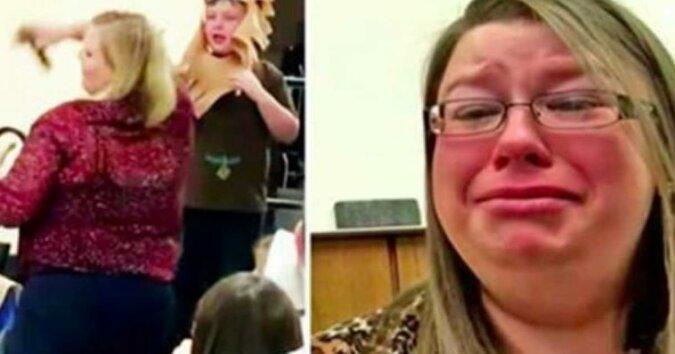 Mama przyszła na szkolny występ. Gdy nadchodzi kolej jej synka, nauczyciel wyrywa mu mikrofon