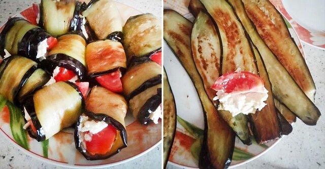 Roladki z bakłażana z serem i czosnkiem. Prosty przepis z książki kucharskiej mojej mamy