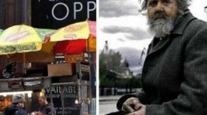 Mężczyzna zawsze dawał bezdomnemu drobne, które leżały w jego kieszeni. Pewnego dnia widzi go w restauracji, w garniturze