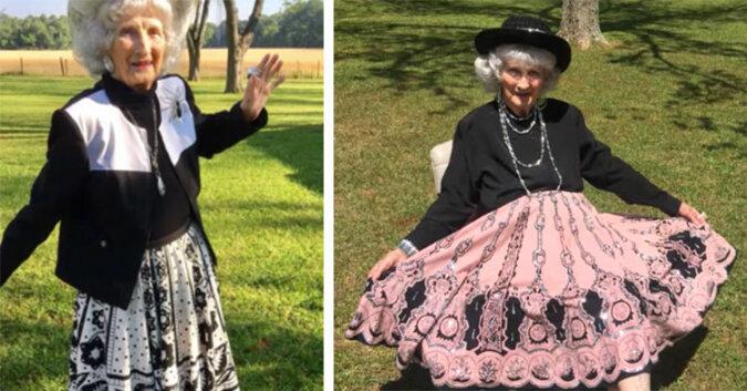 91-letnia fashionistka szerzy radość domowymi pokazami mody. Zobacz kobietę w akcji