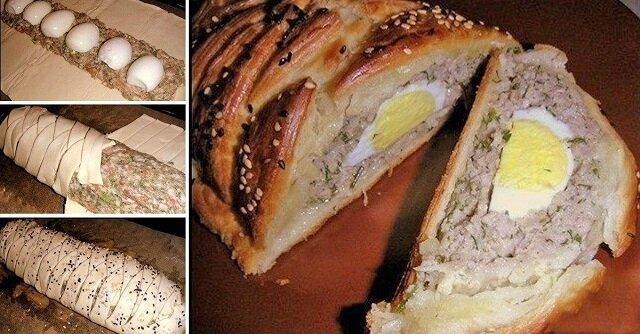 Pieczeń rzymska z jajkiem. Jest bardzo obfita i delikatna