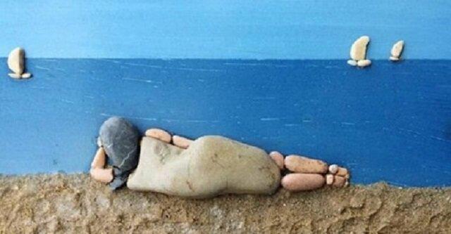Obrazy wykonane z kamieni z plaży autorstwa Stefano Furlani