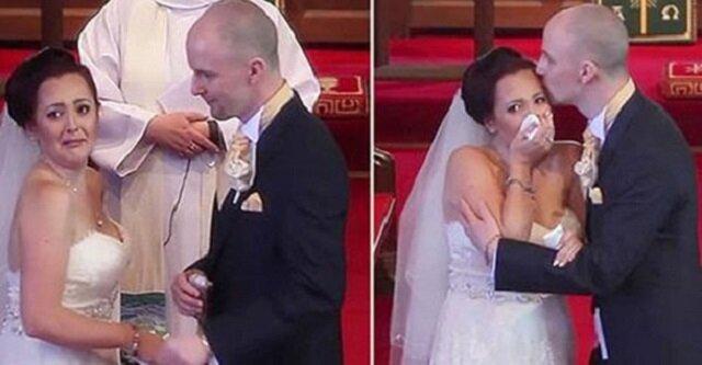 Pan młody przerywa ślub i prosi swoją wybrankę, aby się odwróciła. Ta nagle zaczyna płakać